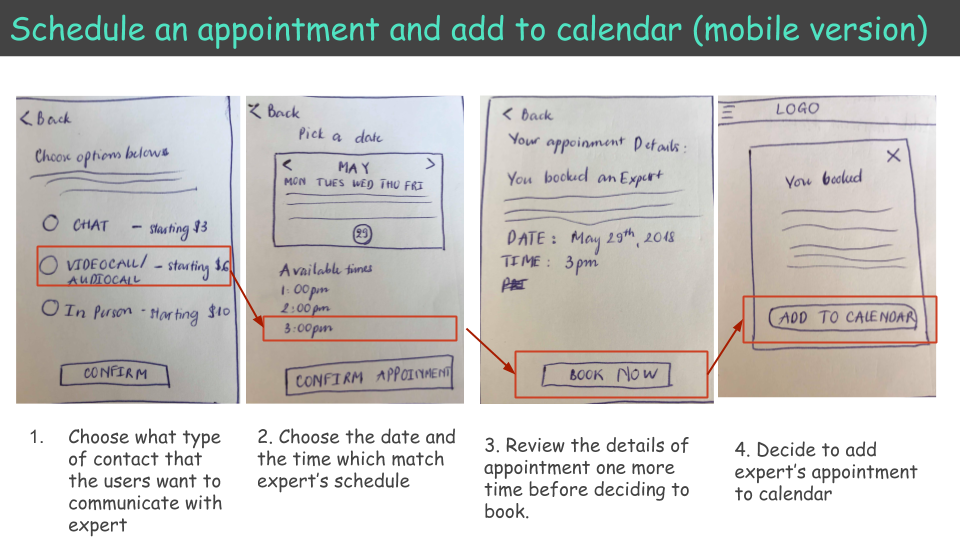 Appointment scheduling in low fidelity mockups