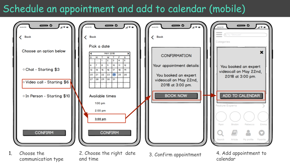 Appointment scheduling in mid fidelity mockups