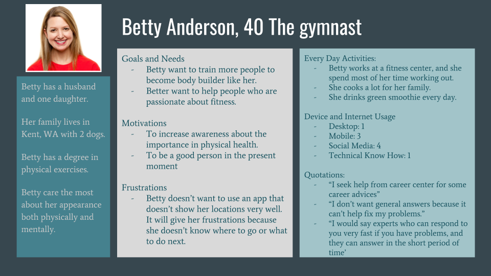 User persona for Betty