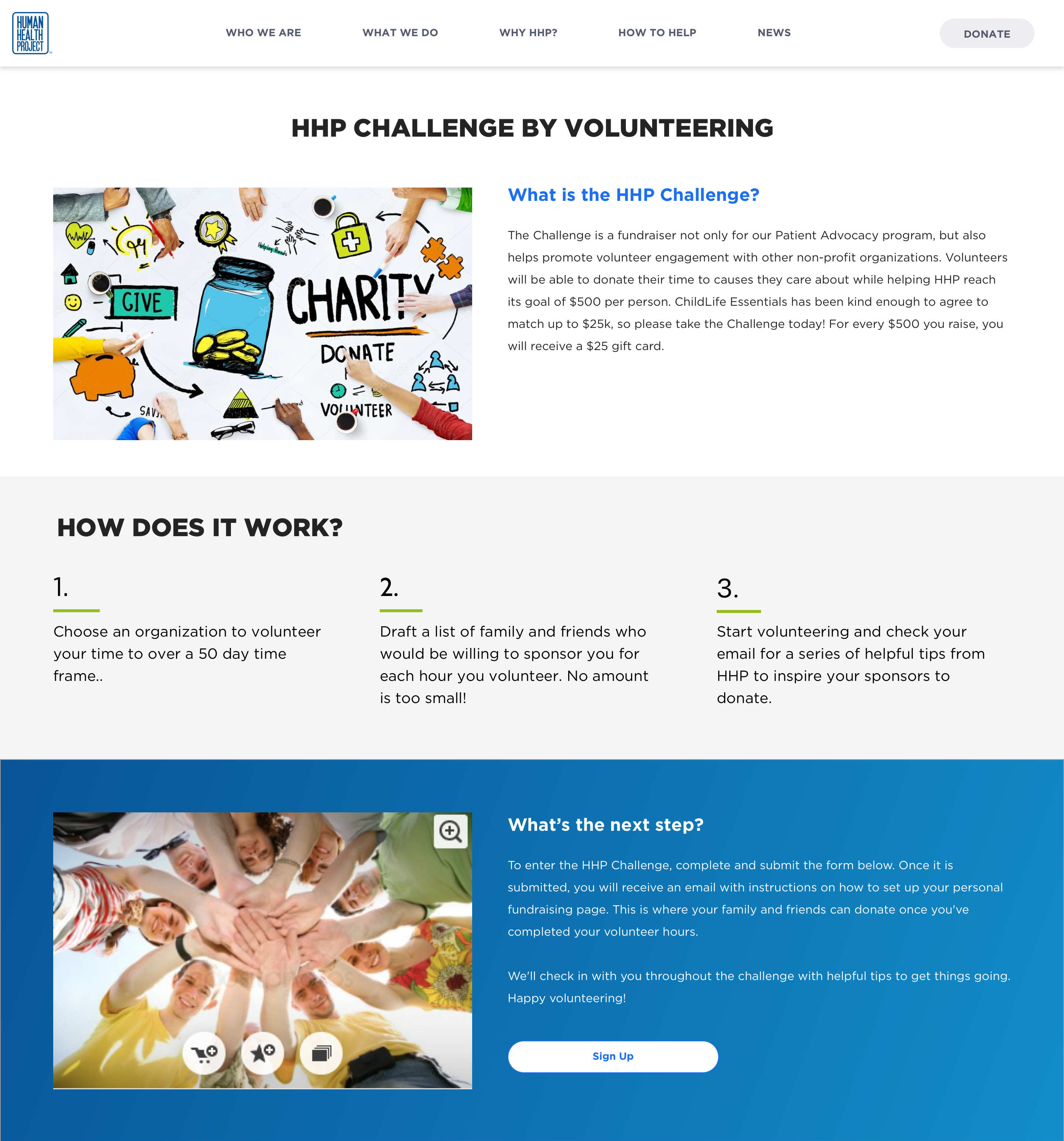 Challenge page for the Human Health Project