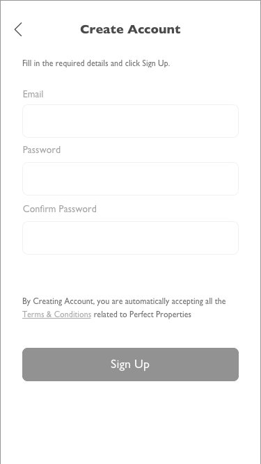 Create account screen, mid-fidelity, Perfect Properties