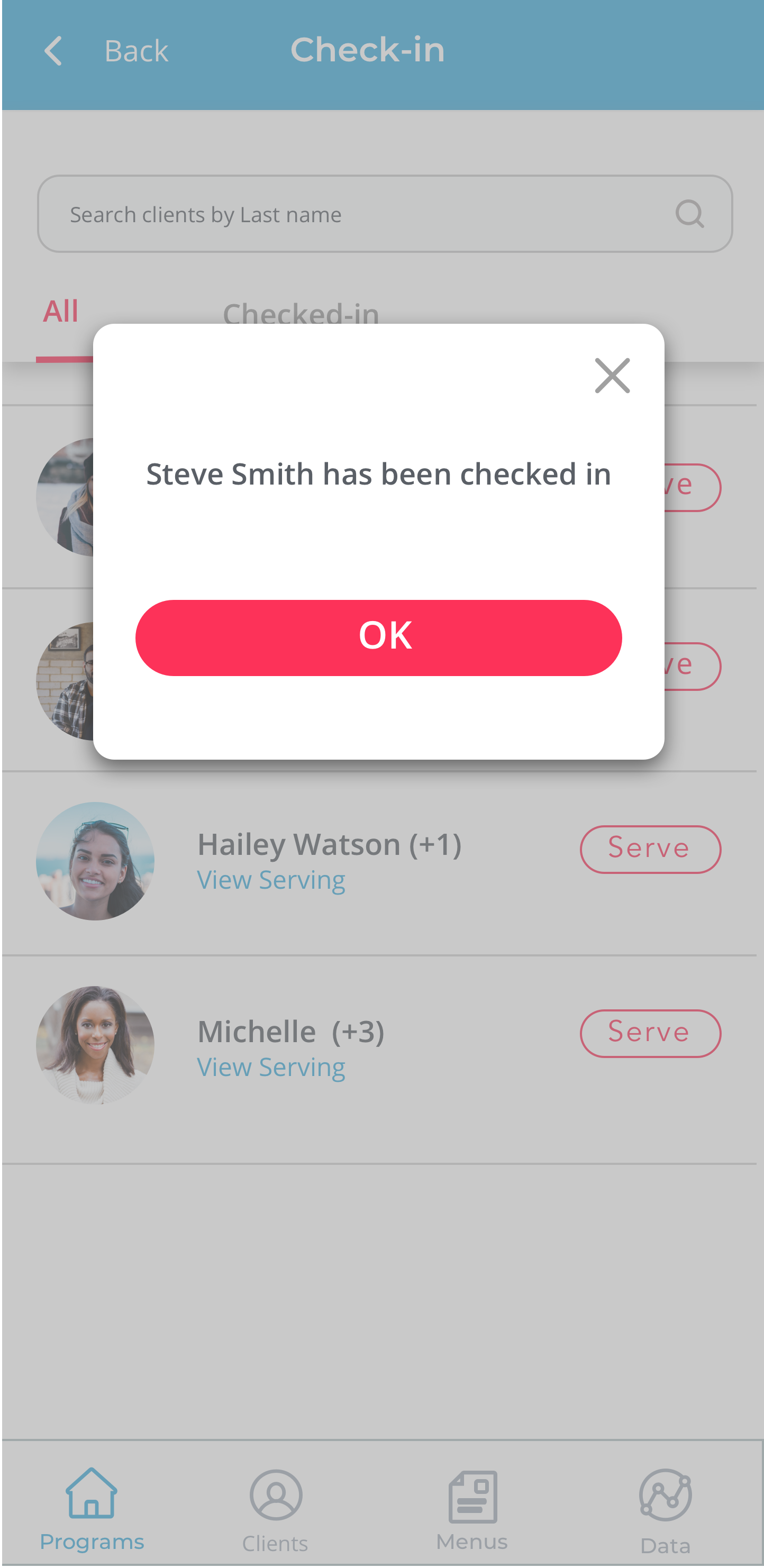 Check-in clients notification